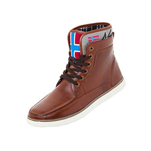 Nebulus Stiefel, Vintage Kunstleder, Sommer-Schuhe, Herren, Cognac, Größe 46 (Q1107)