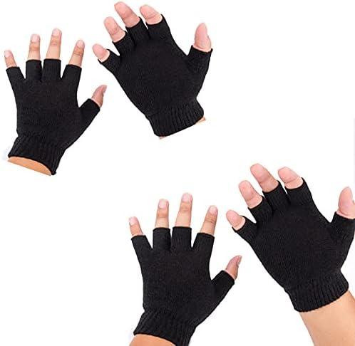 2Pair Unisex Half Finger Gloves Winter Stretchy Knit Fingerless Gloves in Common Size Warm Strecty Knit Gloves for women
