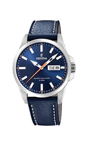 Festina Herren Analog Quarz Uhr mit Leder Armband F20358/3