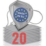 20x FFP2 grau [MADE IN EU] - FFP2 Maske grau CE zertifiziert nach EN 149:2001 + A:2009 - Grau-farbige FFP2 Maske CE zertifiziert - FFP2 Maske bunt in grey - atmungsaktive FFP2 Masken grau aus Europa