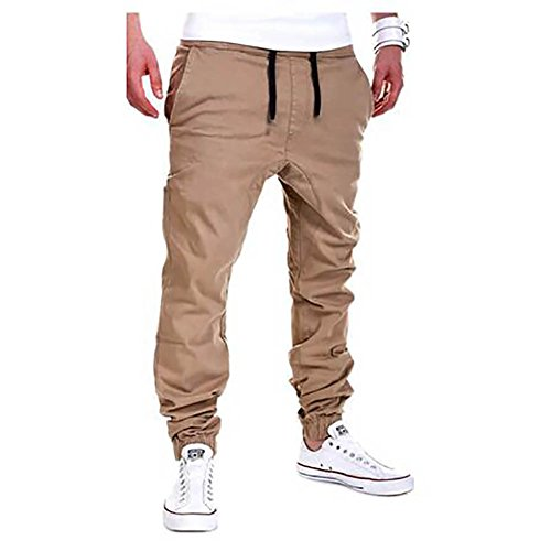 VICVIK Men's Fashion Outdoor Elastic Waistband Casual Jogger Pants Trousers (L, Kaki)