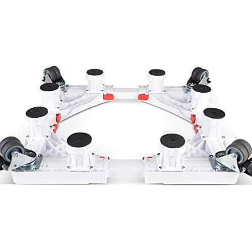ZHFZD multifunctionele wasmachine voet met instelbare lengte en breedte in wit Size 8 feet + 8 wielen.