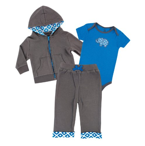 Yoga Sprout Baby 3 Piece Jacket, Top and Pant Set, Blue Elephant, 3-6 Months (6M)