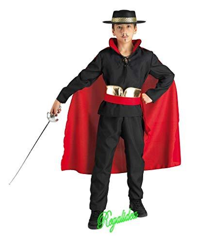 PRESTIGE & DELUXE Costume Vestito Carnevale  Zorro Cavaliere Eroe Segreto  3 4 5 6 7 8 9 10 11 12 Anni (7-8 Anni: Altezza Bimba 128 cm)
