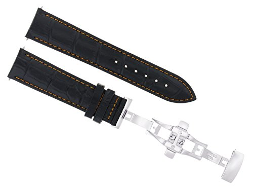 18mm Leather Strap Band Deployment Clasp Compatible with Seiko 5 Snk807 Black Orange Stitch