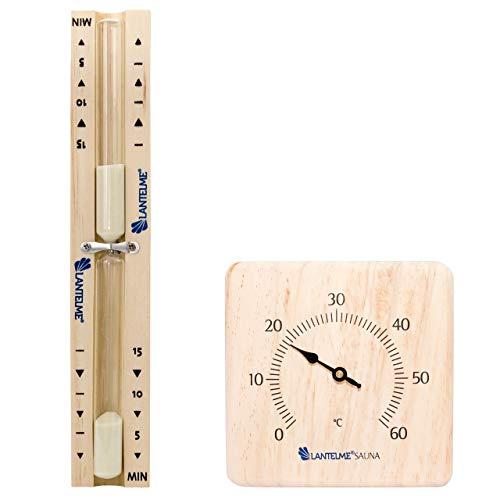 Lantelme Sauna Sanduhr Thermometer Infrarotkabine Set Bimetall Analog Saunathermometer Saunabedarf Saunauhr 15 min 4066