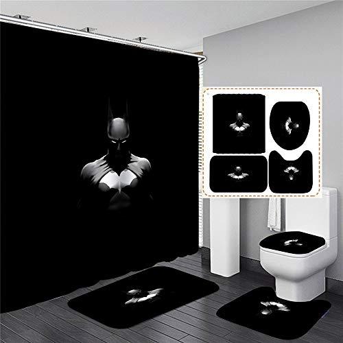 xingy&eshoop Duschvorhang-Creative Batman Wasserdicht Waschbad Polyester Stoff-Badmatte-Vierteiler Anzug 90 (B) X180 (H) cm