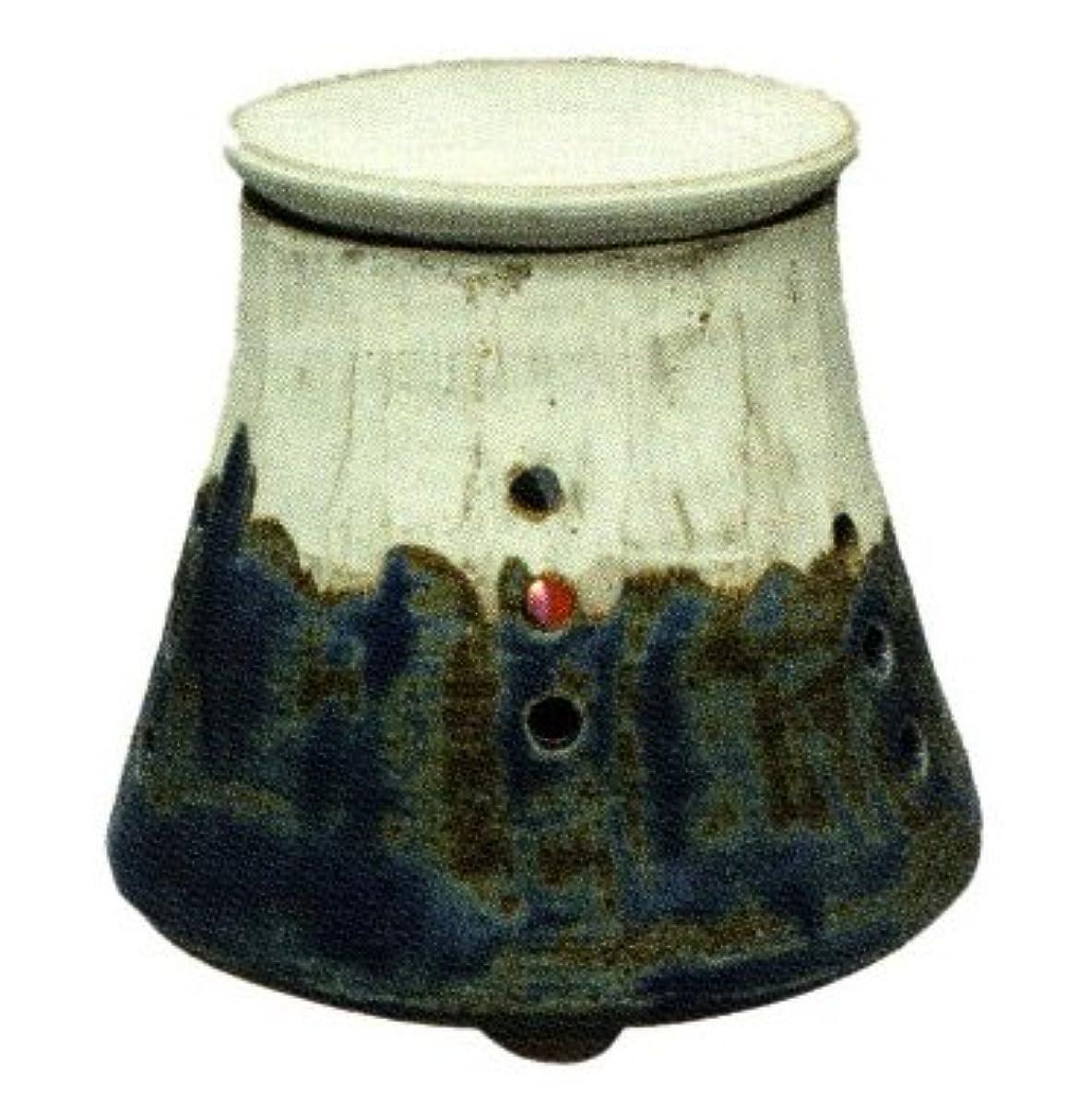 追記元気な走る常滑焼?焜清 カ39-01 茶香炉 青富士 径10.5×9.5cm