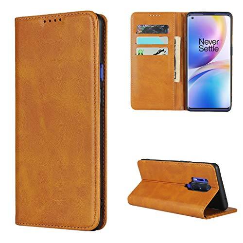 Copmob Hülle Oneplus 8 Pro,Premium Flip Leder Brieftasche Handyhülle,[3 Kartensteckplatz][Ständerfunktion][Magnetverschluss],Ledertasche Schutzhülle für Oneplus 8 Pro - Hellbraun