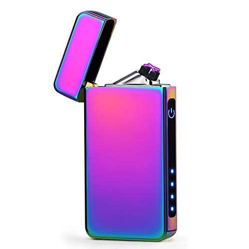 Plasma Lighter USB Rechargeable Dual Arc Electric Lighter Windproof Flamess Lighter (Purple)
