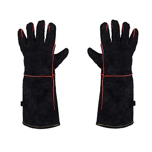 JOM Grillhandschuhe Hitzeschutzhandschuhe Ofenhandschuhe Backhandschuhe Leder 1Paar Grillhandschuhe, Größe: Universal, Länge: 41,50 cm, Material: Leder Schwarz