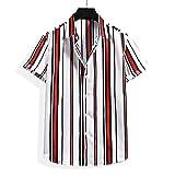 Casuales Camisas Hombre Verano Holgado Casual All-Match Hombre Camiseta Moderno Urbano Rayas Botón Placket Hombre Manga Corta Diaria Cómodo Transpirable Shirt H-008 S