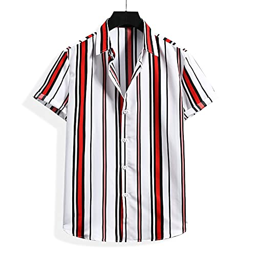 Casuales Camisa Hombre Verano Ajuste Regular Hombre Playa Shirt Rayas Cuello V Manga Corta Shirt Botón Placket Hawaiana Camisa Casual Suelto Hombre Deportiva Camisa H-008 M