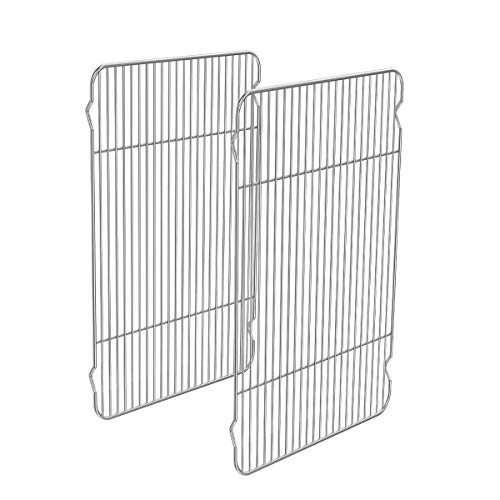Small Stainless Steel Cooking Rack Set 2, Little Baking Rack Pack of 2, for Cooling Baking Roasting Grilling Drying, Rectangle 9.7x7.48x0.6 inch, Fits Small Toaster Oven, Oven & Dishwasher Safe
