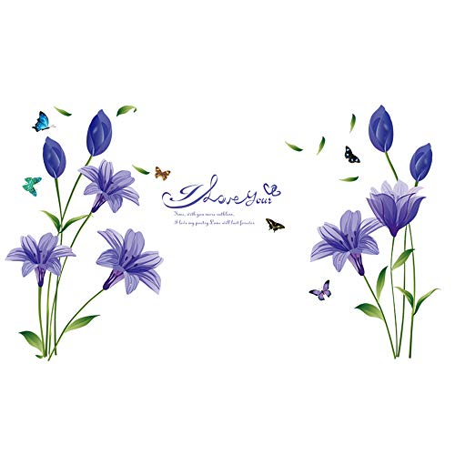WMdecal Removable Large Lily Flower Wall Vinyl Decals for TV Wall Easy to Apply Peel and Stick Wallpaper Art Stickers for Living Room (Purple)