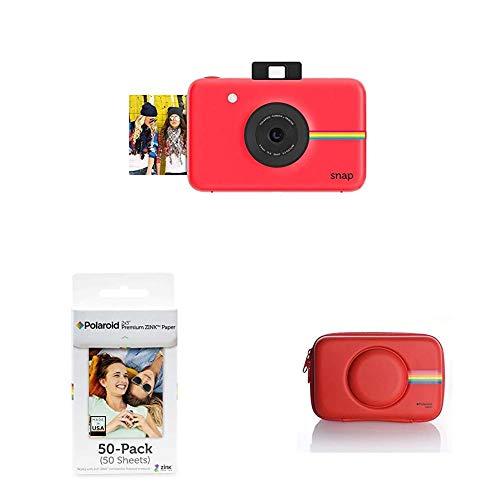 Polaroid Fotocamera Digitale a Scatto Istantaneo con Tecnologia Di Stampa a Zero Inchiostro Zink, Rosso + Carta Fotografica + Custodia