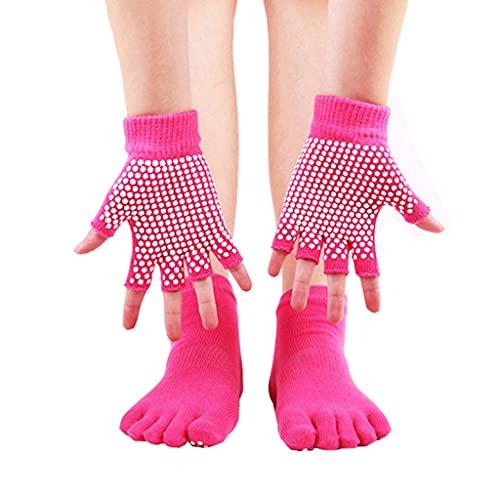 HKDQZ Mujeres Anti-patín de Yoga Calcetines establecidos Guantes de Yoga Antideslizantes Antideslizantes Puntos de Silicona de Cinco Dedos Masaje de Toe Deportivo Calcetines de Tobillo Pilates