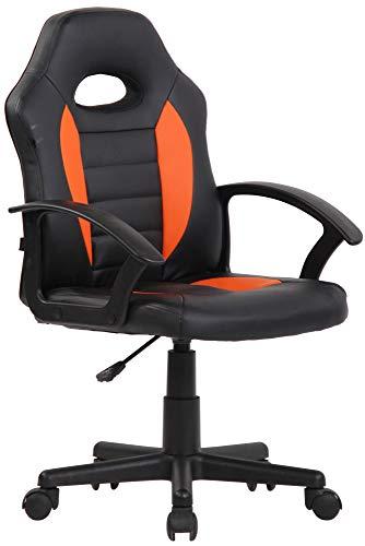 CLP Kinder Bürostuhl Femes I Höhenverstellbarer Schreibtischstuhl Mit Armlehnen I Drehstuhl Mit Leichtlaufrollen, Farbe:schwarz/orange