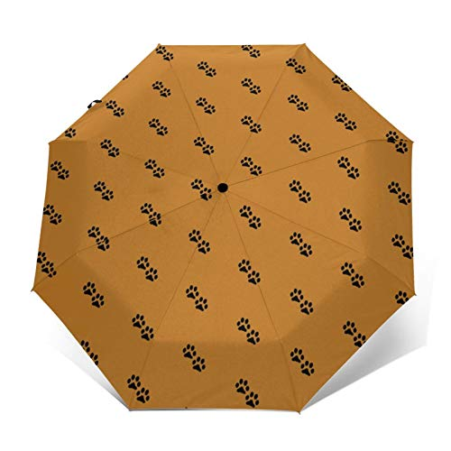 Cheddar Regenschirm mit Hundepfoten auf Cheddar, dreifach gefaltet, kompakt, aus Gummi, Anti-UV, winddicht, automatisches Ein- und Ausschalten, Einhandbedienung