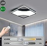 LED Modern Deckenleuchte Dimmbar Schlafzimmer Lampe Deckenlampe mit Fernbedienung Ultradünn Quadratisch Acryl-Schirm Deckenbeleuchtung für Restaurant Wohnzimmer Küchenleuchten, 62W Schwarz + Weiß