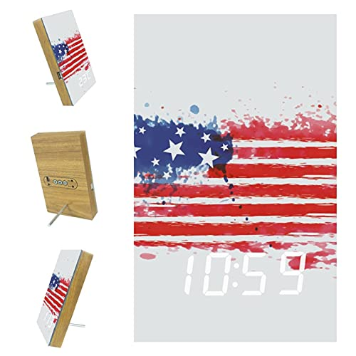 imobaby Alarm Clock Independence Day American Flag Digital LED Clock with USB Charger Voice Control Custom Home Decor