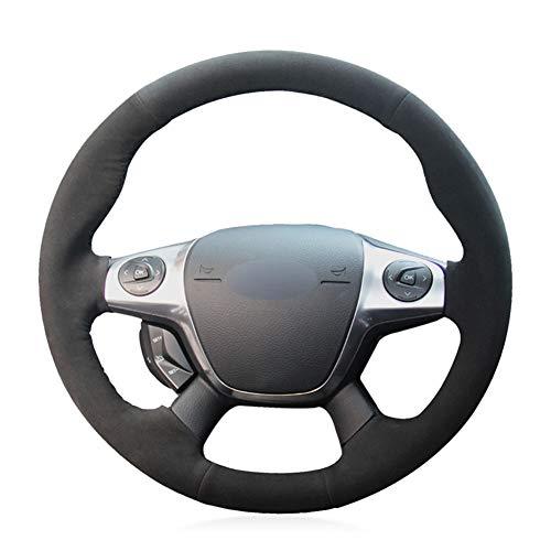 LYSHUI Cómoda Cubierta de Gamuza para Volante de Coche, para Ford Focus 2011-2014 C-MAX (Grand C-MA