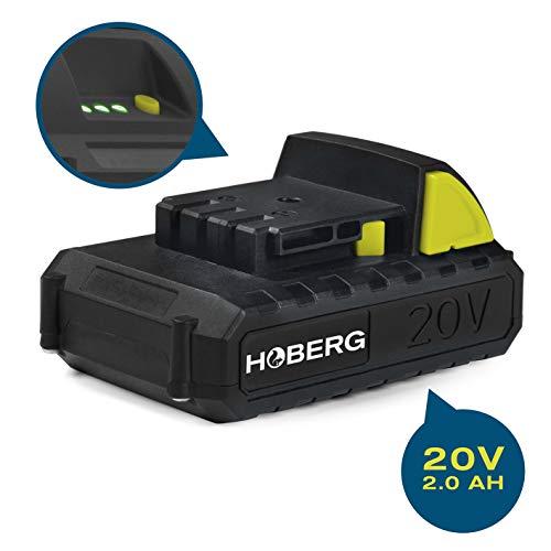 Hoberg Universal-Akku 20 V, 2.0 Ah, passend für alle Hoberg Akku-Gartengeräte, Easy-Click-Funktion, integrierte Ladestandanzeige