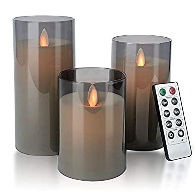 """Flameless Candles Flickering Battery Operated Candles Pack of 3(D: 3""""x H: 4""""5""""6"""") LED Candles Made of Unbreakable plexiglass and Remote Control with 24-Hour Timer(Grey) by Aignis"""