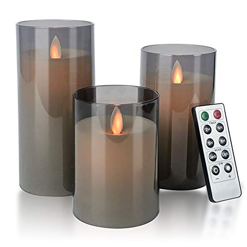 Flameless Candles Flickering Battery Operated Candles Pack of 3(D: 3'x H: 4'5'6') LED Candles Made of Unbreakable plexiglass and Remote Control with 24-Hour Timer(Grey)