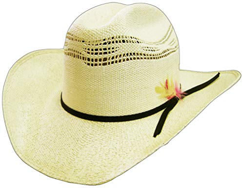 Modestone 6X Feather Bangora Straw Chapeaux Cowboy Off-White
