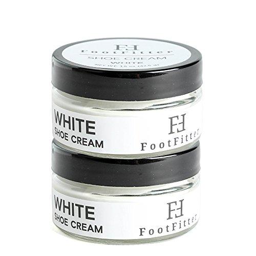 FootFitter Premium Shoe Cream Polish, 2 Pack, Shoe and Boot Shine Cream - Made in the USA! (White)