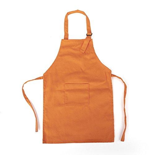 Opromo Tabliers en toile de coton durable avec poche, cordon réglable, 58,4 x 43,2 cm Orange Lot de 6