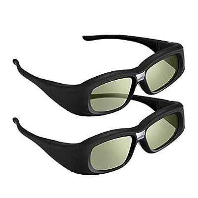 DLP Link 3D Glasses, 144 Hz Rechargeable 3D Active Shutter Glasses for 3D DLP Projectors, Compatible with Acer, ViewSonic, BenQ, Vivitek, Optoma, Panasonic, Dell, Viewsonic (M-2Pack)