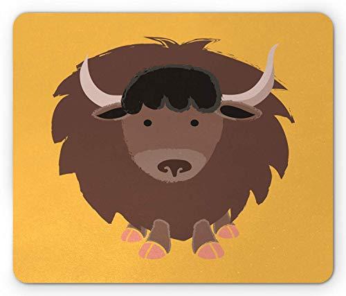Yak Mouse Pad, Wild Tibetaanse stier met hoorns Simplistische Educatieve Cartoon, Rechthoek Mousepad muismat Mosterd Zalm