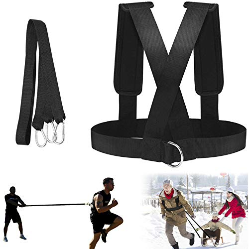 ROLLMOSS Sled Harness Tire Pulling Harness Fitness Resistance Training Workout Speed Harness Trainer Football Training -Adjustable Padded Shoulder Strap