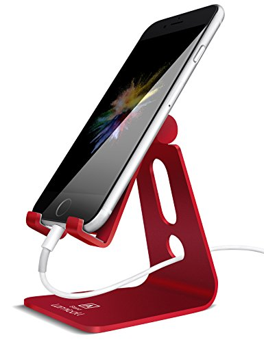 Adjustable Cell Phone Stand, Lamicall Phone Stand : [Update Version] Cradle, Dock, Holder Compatible with iPhone Xs XR 8 X 7 6 6s Plus SE 5 5s 5c Charging, Accessories Desk, Android Smartphone - Red