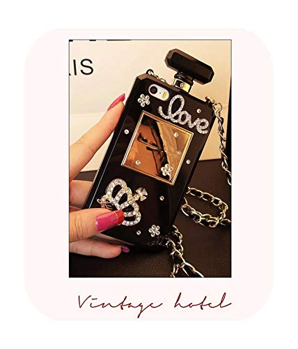 Bling Crystal Diamond Chain Handtas Parfum Fles Lanyard Case Voor Iphone11 Pro Max 5S 6S 7 8Plus X Xs Max Xr Telefoonhoesje, For iphone X, 11