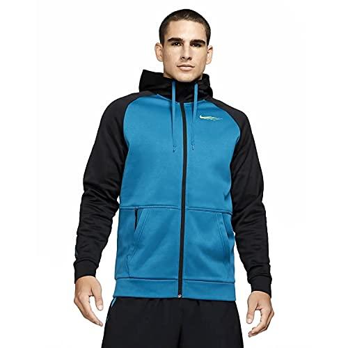Nike Therma Men 's Full-Zip TRA,GRE Olive - Camiseta térmica para hombre, talla 2XL, color verde oliva y negro