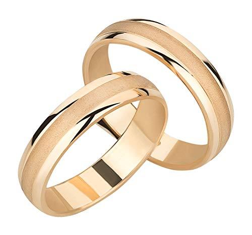 Ardeo Aurum Trauringe Damenring und Herrenring aus 375 Gold Gelbgold hochglanzpoliert-matt Eheringe Paarpreis
