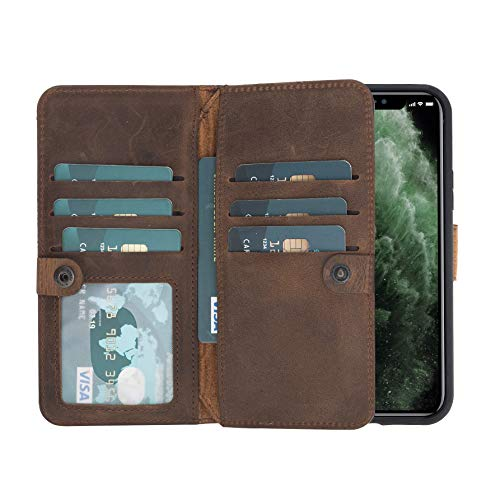 """Burkley Case Windsor Premium Genuine Leather Book Cover Style Double Bi-Fold Magnetic Detachable Snap-on Case Wallet with Flap Closure for Apple iPhone 11 (6.1"""") (Distressed Antique Coffee)"""