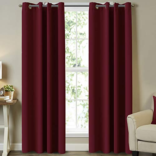 """Ultra Sleep Well Microfiber Blackout Panel Drapes for Home Decor Blackout Curtains for Bedroom /Living Room , 52"""" Wide x 108"""" Long Curtains for Sliding Glass Patio Door, (Set of 2), Burgundy"""