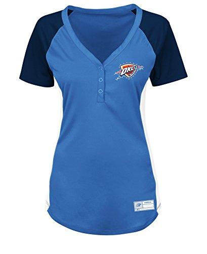 VF LSG NBA Oklahoma City Thunder Damen Fanatic Outlook Short Sleeve Raglan Placket Tee Large, Sport Blue/Athletic Navy/White