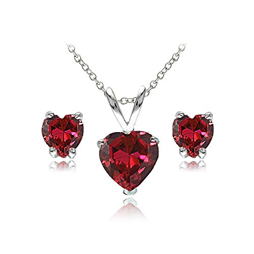 GemStar USA Sterling Silver Synthetic Ruby Heart Solitaire Necklace and Stud Earrings Set