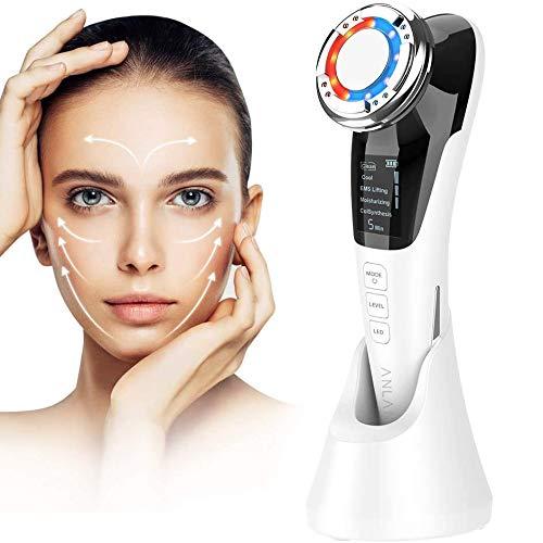 Machine à ultrasons pour le visage avec EMS + thérapie par lumière chaude / froide + ionique + lumière rouge / bleue pour le nettoyage, démaquillant, anti-âge, démaquillage, resserrement de la peau