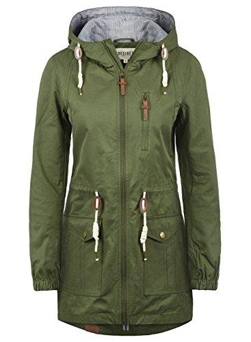 DESIRES Inata Damen Übergangsmantel Parka Lange Jacke Mit Kapuze, Größe:S, Farbe:Ivy Green (3797)