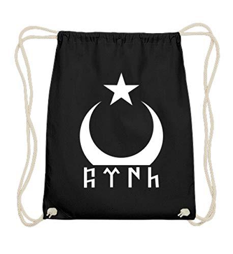 ALBASPIRIT Türk Göktürk Ayyildiz Flagge Türkei Halbmond Stern Fahne Türkiye Cumhuriyeti Geschenk - Baumwoll Gymsac -37cm-46cm-Schwarz
