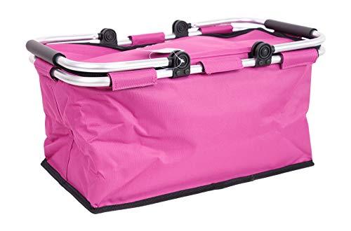 StyleKiste Einkaufskorb mit Aluminiumrahmen 46x29x23 cm / 28 Liter Shopper in unterschiedlichen Farben (Pink)