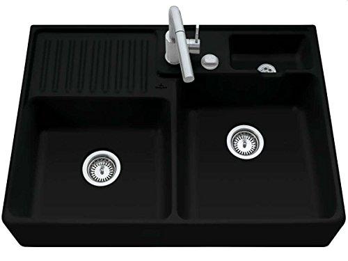 Villeroy & Boch Spülstein Doppelbecken Modul Keramik / Ebony Premiumline / inkl. Excenterventil / ceramicplus