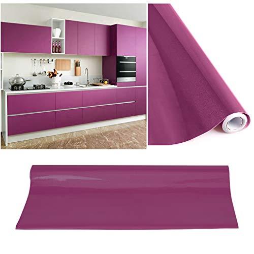 KINLO Tapeten Küche lila 60x500cm (3㎡) aus PVC Klebefolie Aufkleber wasserfest Möbelfolie für Schrank selbstklebende Folie Küchenschrank Küchenfolie Dekofolie selbstklebende Folie Küche MIT GLITZER