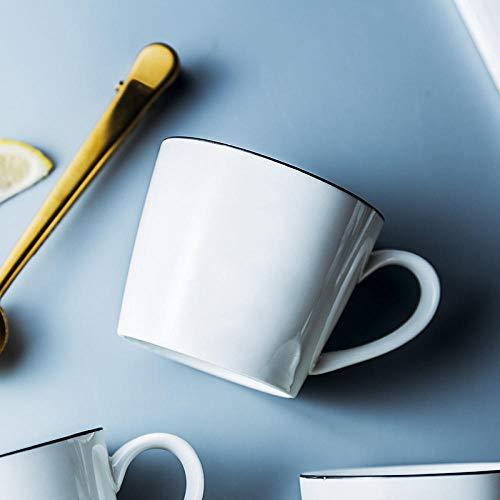xingfuankang Europäische Art Black Line Keramik Wasser Tasse Werbung Promotion Mark Tasse Kaffee Milch Frühstück Tasse Geschenk Großhandel Weihnachtsbecher-Weiß_401-500Ml